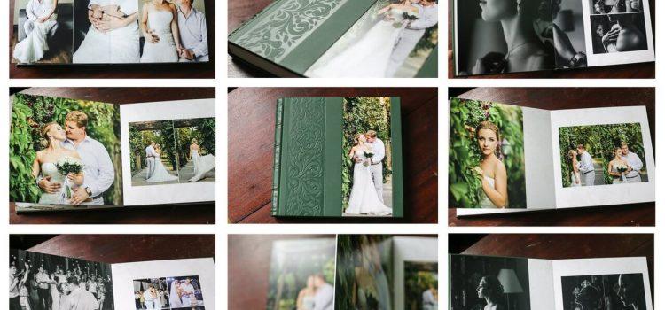 Свадебная фотокнига кожанная зеленая