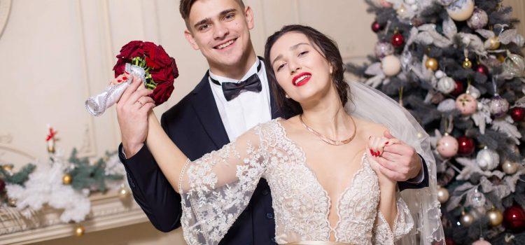 Свадебная новогодняя фотосессия в студии